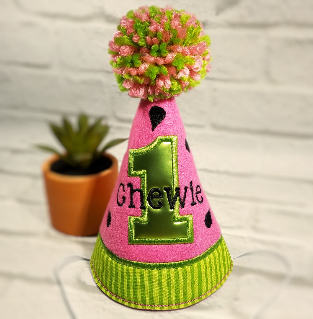 Pink Watermelon dog party hat with lime green birthday number