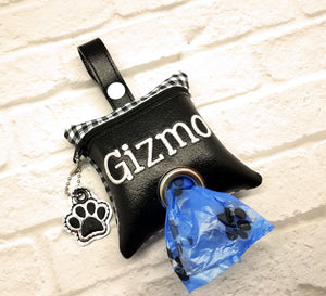 Checkered Dog Poop Bag Dispenser in Black & White- Personalized