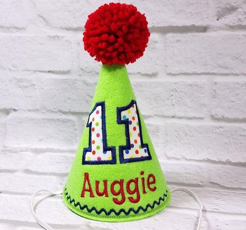 Personalized Dog Birthday Hat Lime Green & Rainbow Dots for 1st Birthday, Gotcha Day