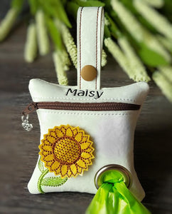 Sunflower dog poop bag dispenser - Personalized