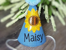 Load image into Gallery viewer, Sunflower Dog Birthday Hat in Denim Blue for Fall Birthday, 1st Birthday, Gotcha Day