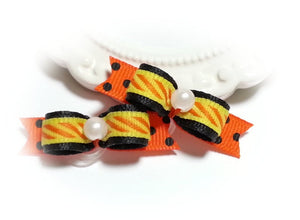 "3/8"" Dog Bow - Halloween Striped with Classic Yellow, Black Orange and Beads"