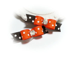 3/8 Dog Bow - Orange and Brown White Dots on Grosgrain Ribbon for Fall