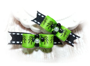 "3/8"" Dog Bow - Lime Green Spiders Halloween Pet Bows with Beads"