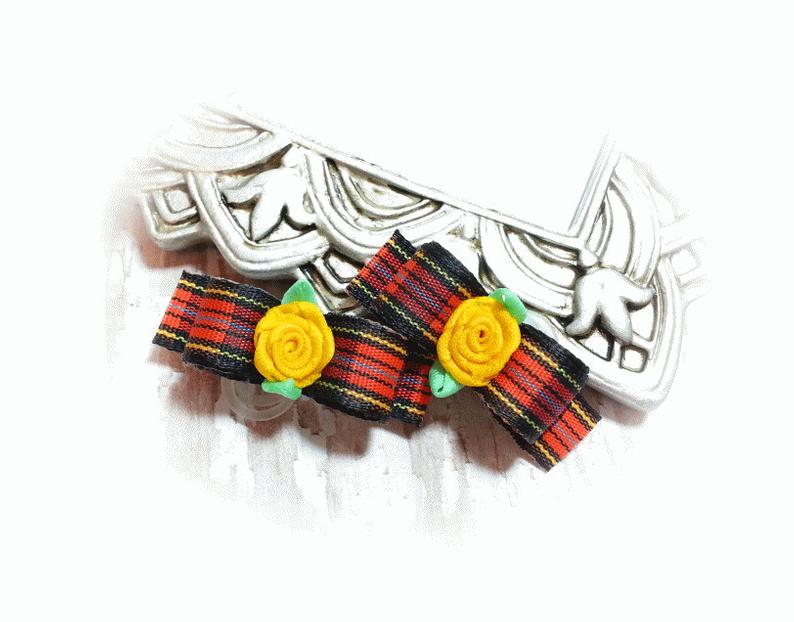 3/8 Dog Bow - Halloween Plaid with Black, Orange, Yellow and Ribbon Flower