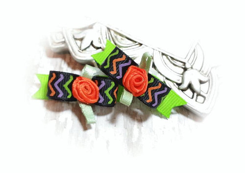 3/8 Dog Bow - Halloween Chevron Stripes with Orange Ribbon Flower
