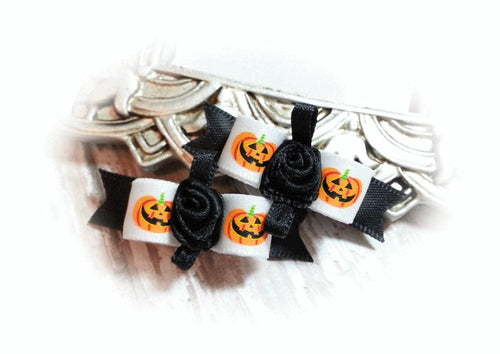 3/8 Dog Bow - Halloween Pumpkins on White Satin and Black Ribbon Flower