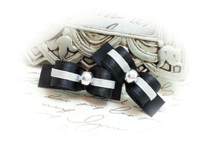 "3/8"" Dog Bow - Black and White Satin with Silver Pearl"