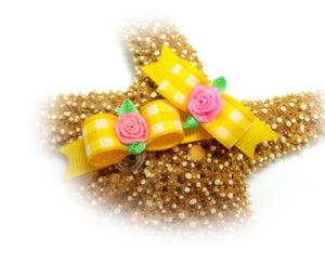 "3/8"" Dog Bow - Yellow Gingham with Pink Ribbon Flower"