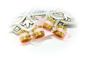 "3/8"" Dog Bow - Gold Glitter with Pink Satin, Rhinestone & Beads"
