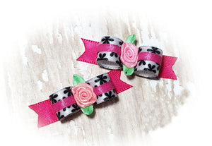 "3/8"" Dog Bow - Black Flowers on White Satin with Pink Ribbon Rose"