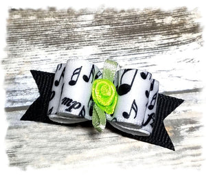 "5/8"" Dog Bow - Black Musical Notes with Lime Ribbon Flower"