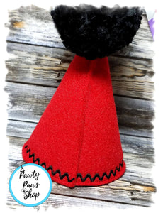 Back of Red Pet Party Hat with Black Pompom
