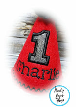 Load image into Gallery viewer, Personalized Red Pet Party Hat with Silver Birthday Number