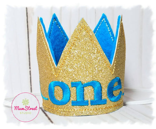 Birthday Crown for Cats or Dogs, Gold Sparkle and Turquoise for 1st Birthday, Gotcha Day