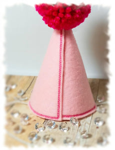 Dog Birthday Hat in Pink, Personalized with Gold Birthday Number for Pet's 1st Birthday, Gotcha Day