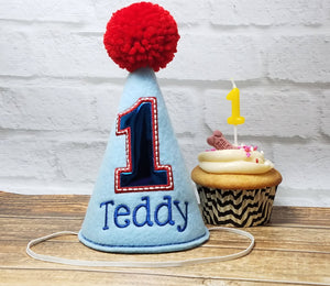 Light Blue Boy Dog Birthday Hat Personalized for 1st Birthday, Gotcha Day