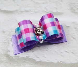 "5/8"" Dog Bow - Lilac Plaid with Silver Flower and Beads"