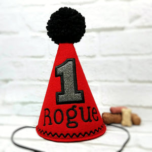 Dog Birthday Hat Personalized Red & Silver Sparkle for 1st Birthday, Gotcha Day