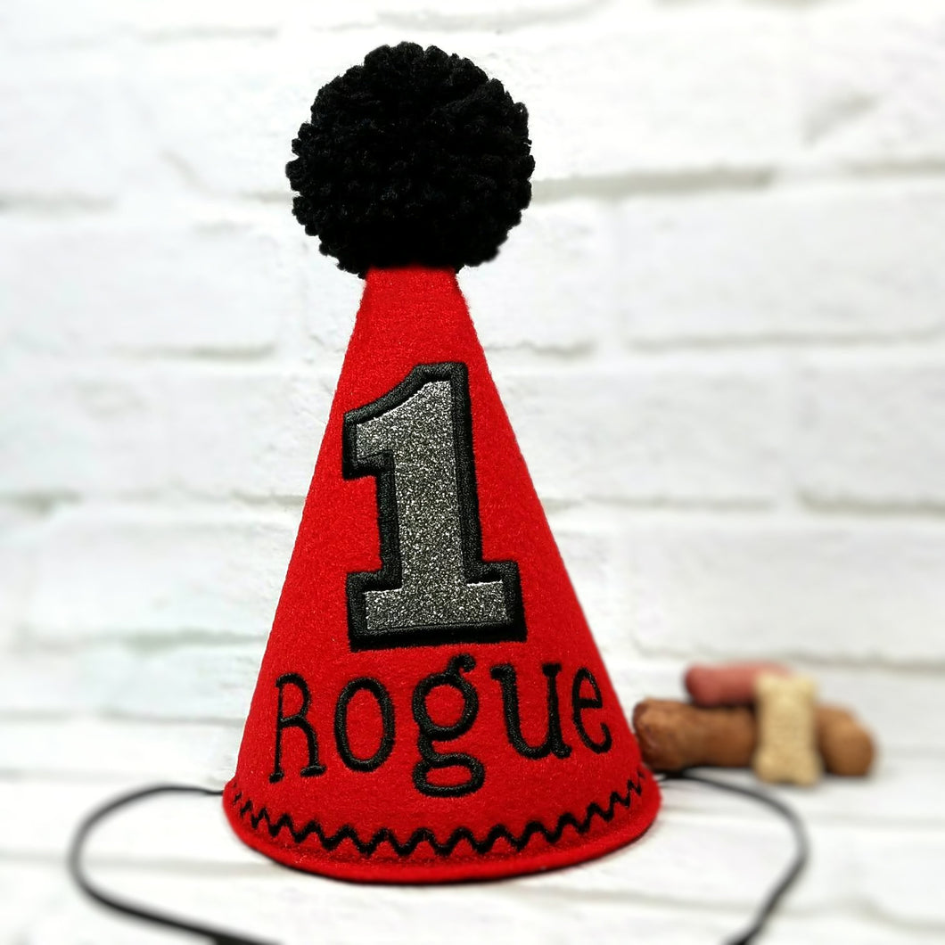 Red Pet Party Hat with Black Embroidery and Pompom