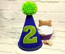 Load image into Gallery viewer, Dog Birthday Hat Personalized Royal Blue & Lime Green for 1st Birthday, Gotcha Day