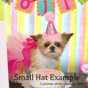 Small dog with gold birthday number pink party hat
