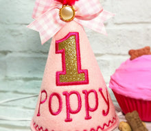 Load image into Gallery viewer, Close up of pink party hat with embroidered gold number
