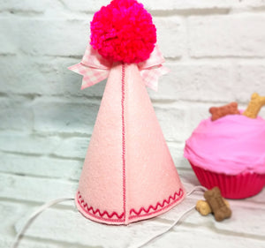 Pink Dog Birthday Hat with Pink Gingham Ribbon for 1st Birthday, Gotcha Day