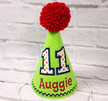 Load image into Gallery viewer, Personalized Dog Birthday Hat Lime Green & Rainbow Dots for 1st Birthday, Gotcha Day