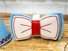 Load image into Gallery viewer, Light blue dog bow tie with marshmallow sparkle vinyl