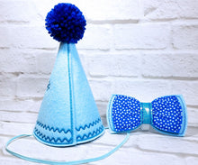 Load image into Gallery viewer, Back of Light Blue Party Hat with Blue Pompom