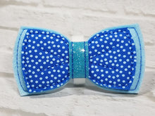 Load image into Gallery viewer, Light Blue Dog Bow Tie with Micro Dots fabric