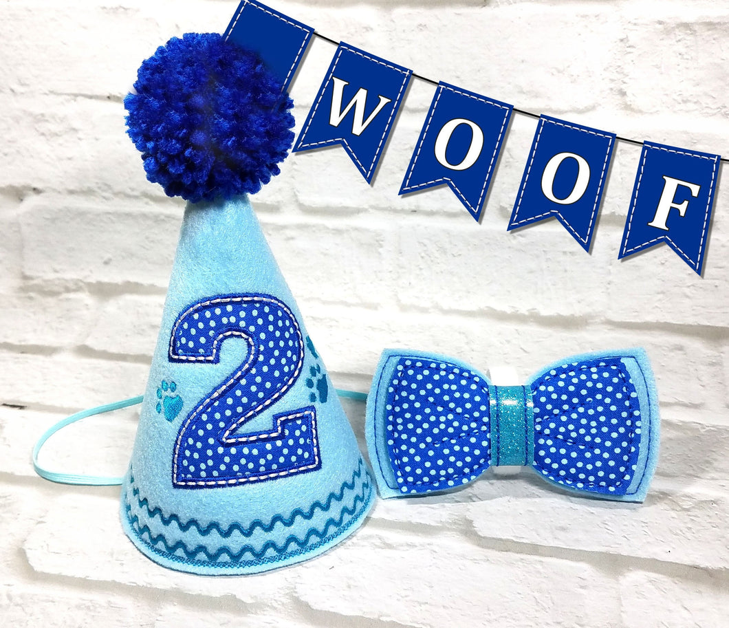 Light Blue Pet Party Hat & Bow Tie with Blue Pompom