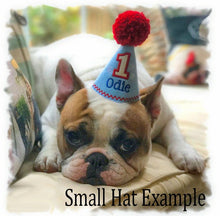 Load image into Gallery viewer, Patriotic Dog Birthday Hat Personalized Light Blue & Stars for 1st Birthday, Gotcha Day