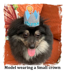 Birthday Crown for Cats or Dogs, Gold Sparkle and Fuchsia for 1st Birthday, Gotcha Day