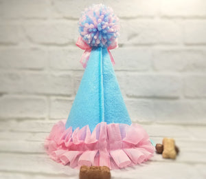 Personalized Dog Birthday Hat Light Blue & Pink Gingham for 1st Birthday, Gotcha Day