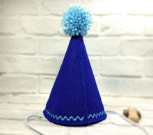 Load image into Gallery viewer, Back of Royal Blue Dog Party Hat with Light Blue Pompom