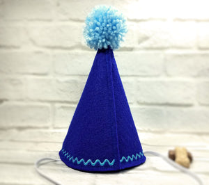 Back of Royal Blue Dog Party Hat with Light Blue Pompom