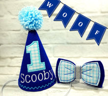 Load image into Gallery viewer, Royal Blue Pet Party Hat & Bow Tie with Blue Gingham Fabric