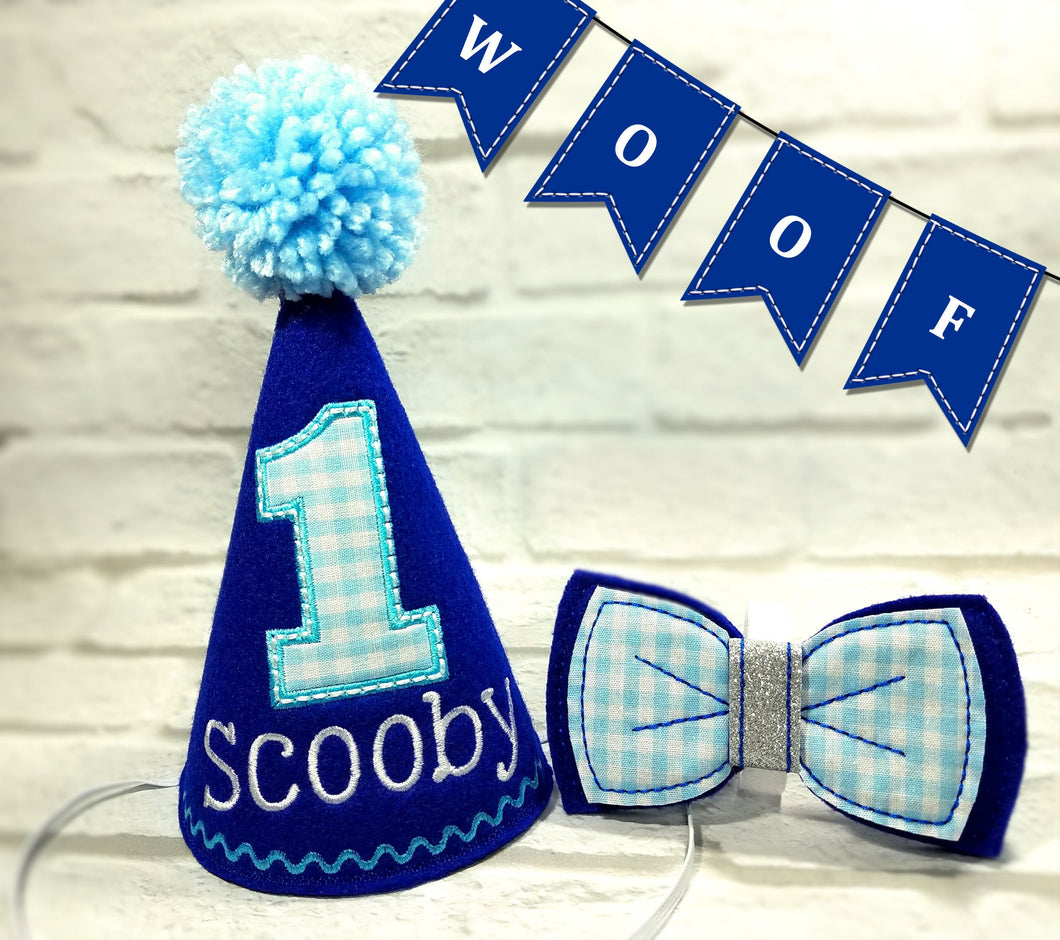 Royal Blue Pet Party Hat & Bow Tie with Blue Gingham Fabric