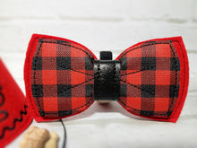 Load image into Gallery viewer, Handmade red dog bow tie with buffalo plaid vinyl fabric