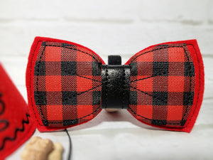 Handmade red dog bow tie with buffalo plaid vinyl fabric