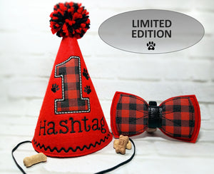 Red Dog Party Hat & Bow Tie with Buffalo Plaid Vinyl