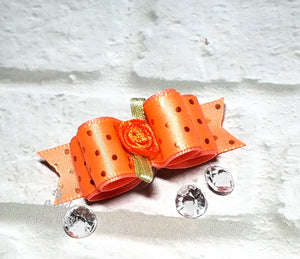 "5/8"" Dog Bow - Tangerine and Orange Foil Dots with Orange Flower"