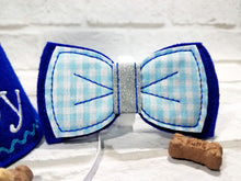 Load image into Gallery viewer, Royal Blue Dog Bow Tie with Blue Gingham Fabric