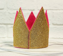 Load image into Gallery viewer, Birthday Crown for Cats or Dogs, Gold Sparkle and Fuchsia for 1st Birthday, Gotcha Day