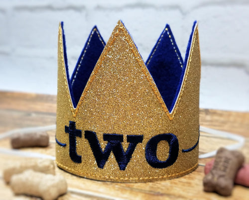 Birthday Crown for Cats or Dogs, Gold Sparkle and Royal Blue for 1st Birthday, Gotcha Day