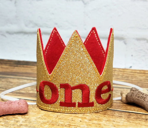 Birthday Crown for Cats or Dogs, Gold Sparkle and Red for 1st Birthday, Gotcha Day