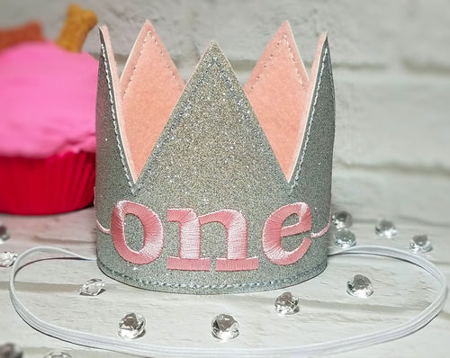 Birthday Crown for Cats or Dogs, Silver Sparkle and Pink for 1st Birthday, Gotcha Day