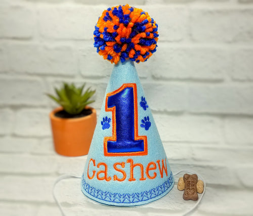 Personalized Dog Birthday Hat Light Blue & Orange for 1st Birthday, Gotcha Day